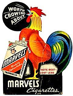 Vintage Marvels Cigarettes Rooster Cardboard Sign (Image1)