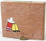Vintage Wooden Cigarette Case With Mexican