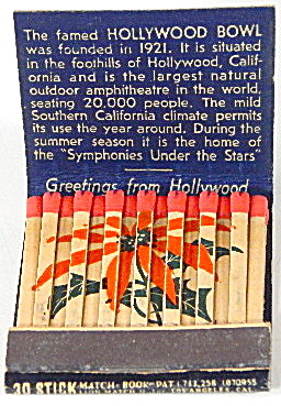 Hollywood Bowl Matchbook