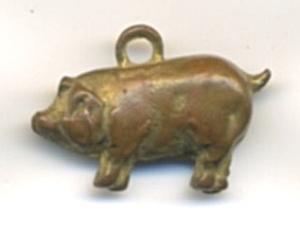 Vintage Metal Pig Charm (Image1)