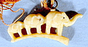 Vintage Celluloid Family Of Elephants charm