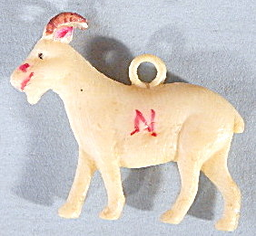 Vintage Celluloid Naval Academy Mascot Goat Charm (Image1)