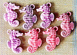 Vintage Seahorse Plastic Charms Set Of 7