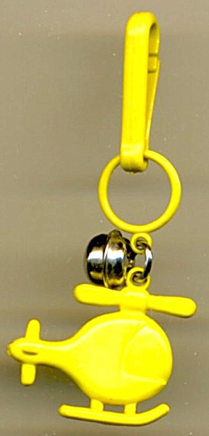 80s Bell Charm Keychain Clip Yellow Helicopter
