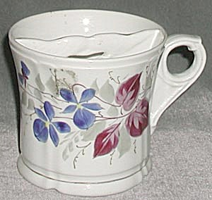 Vintage Shaving Mug With Blue Flowers