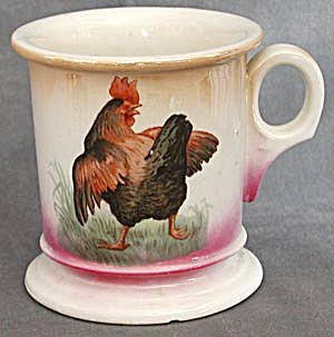 Antique German Luster Rooster Shaving Mug (Image1)