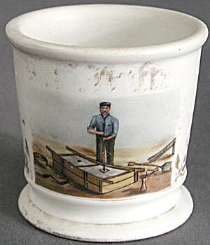Rare Occupational Porcelain Shaving Mug Iron Puddler