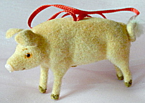 Wagner Kunstlerschutz Flocked Pig Ornament