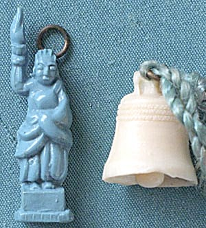 Vintage Celluloid Liberty Bell & Statue Charms