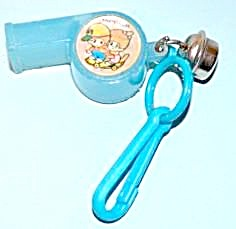 80s Bell Charm Keychain Clip Blue Whistle