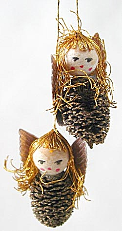 Vintage Pinecone Angels Christmas Ornament