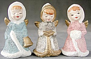 Victorian Angel Girls Christmas Ornaments Set Of 3