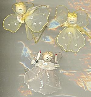 Vintage Christmas Tulle Netting Angel Ties Set of 3 (Image1)