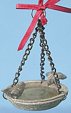 Hanging Bird Bath with 2 Birds Christmas Ornament (Image1)