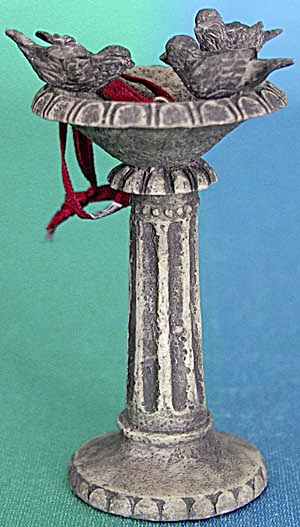 Standing Bird Bath With 3 Birds Christmas Ornament