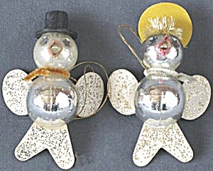 Vintage Glass Bird Couple Christmas Ornaments (Image1)