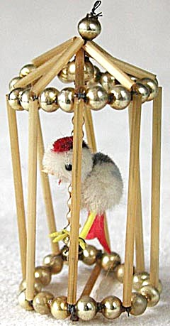 Vintage Czech Beaded Bird Cage Ornament (Image1)