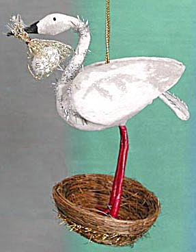 Stork in Nest Holding Egg Ornament (Image1)
