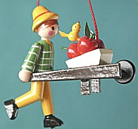 Vintage Wooded Boy With Apple Cart Christmas Ornaments