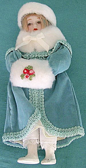 Vintage Porcelain Girl In Aqua Velvet Ornament