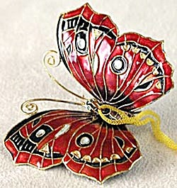 Red Enamel Butterfly Christmas Ornament (Image1)