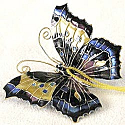 Blue Enamel Butterfly Christmas Ornament (Image1)