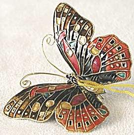 Orange Enamel Butterfly Christmas Ornament (Image1)