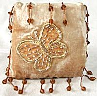 Velvet Embroidered Butterfly Pillow Ornament (Image1)