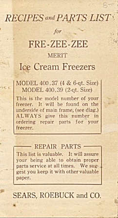Free-zee-zee Ice Cream Maker Recipes & Parts