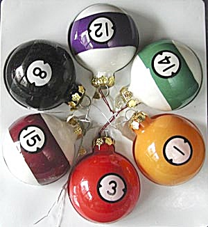 Blown Glass Pool Balls Christmas Ornaments (Image1)