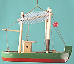 Wooden Fishing Boat Christmas Ornament (Image1)