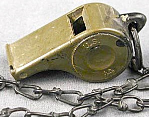 Vintage Military U.s. Whistle With Original Metal Chain