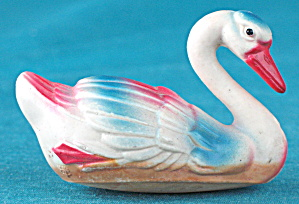 Vintage Celluloid Toy Swan Family Set Of 2
