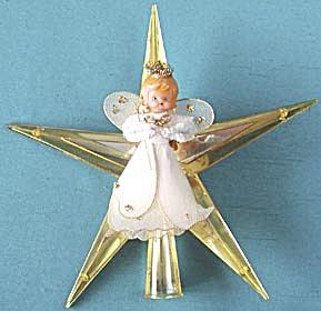vintage plastic star angel tree topper - Vintage Christmas Tree Toppers