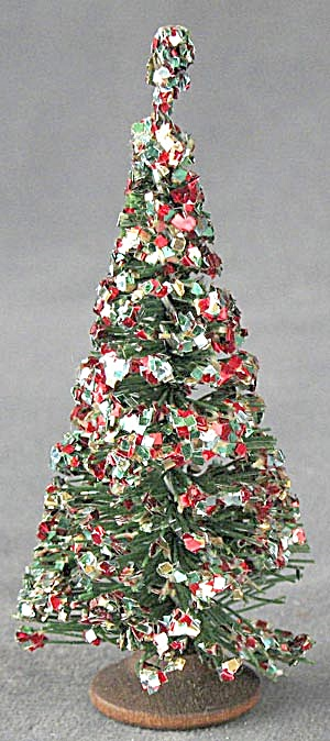 Vintage Bottle Brush Christmas Tree With Glitter
