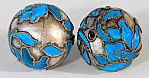 Vintage Chinese Kingfisher Feather Beads