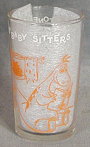 Vintage Flintstone Drinking Glass: Pebbles Baby Sitters (Image1)