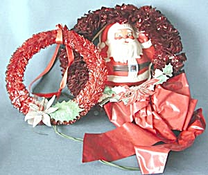 Vintage Christmas Red Cellophane Wreathes