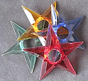Vintage Small Plastic Star Reflectors Set of 4 (Image1)