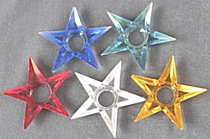 Vintage Small Plastic Star Reflectors Set Of 5