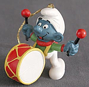 Smurf With Drum Christmas Ornament