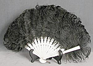 Vintage Black Ostrich Feather Fan (Image1)