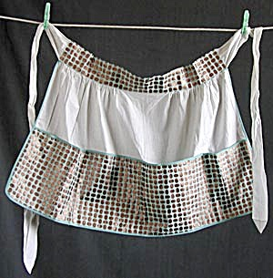 Vintage White, Copper and Aqua Apron (Image1)