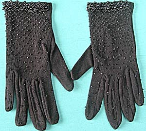 Vintage Black Beaded Ladies Dress Gloves (Image1)