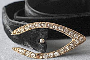 Vintage Black Velvet Belt with Rhinestone Buckle (Image1)