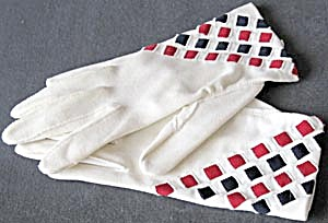 Vintage Red White And Blue Gloves