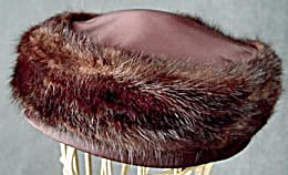 Dark Brown Mink & Satin Hat