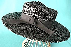 Vintage Black Straw Hat (Image1)