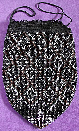 Vintage Black Beaded Reticule Purse (Image1)