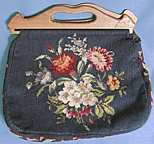Vintage Needlepoint Purse Wooden Handle (Image1)